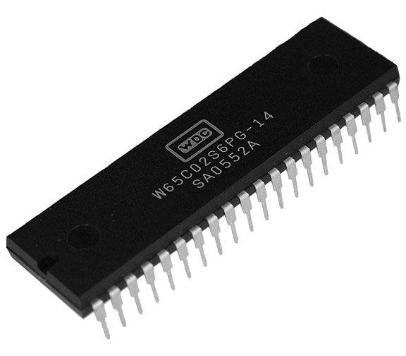 This is a Picture of the W65C02S6PG-14 8-bit Microprocessor in a Plastic Dual-In-Line, 
