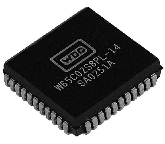 This is a Picture of the W65C02S6PL-14 8-bit Microprocessor in a Plastic Leaded Chip 