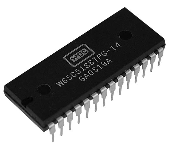 This is a Picture of the CMOS W65C51S6TPG-14  Asynchronous Communications Interface Adapter  							(ACIA) provides an easily implemented, program controlled interface between microprocessor based systems and  							serial communication data sets and modems.