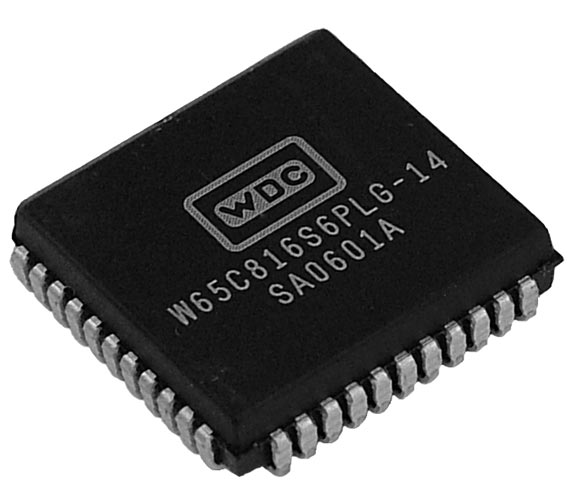 This is a Picture of the W65C816S8PLG-14 16-bit Microprocessor in a Plastic Leaded Chip  								Carrier, 44 pin package. The W65C816S is a low power 16-bit microprocessor. It extends the 65xx technology  								family to handle 16-bit processing with a 16MB memory space.