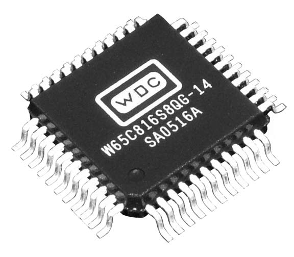 This is a Picture of the W65C816S8QG-14 16-bit Microprocessor in a Quad Flat Pack, 44 pin 